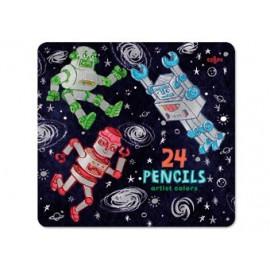 boîte de 24 crayons Robots