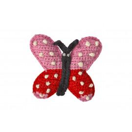 colorful crochet butterfly broche